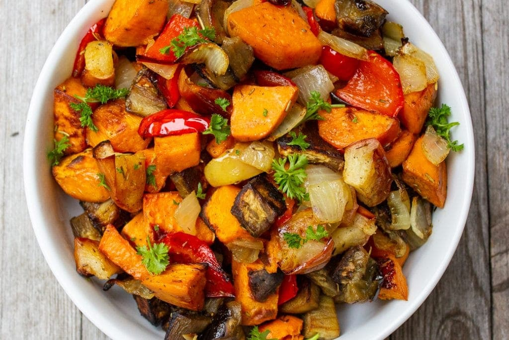 Roasted Sweet Potatoes, Peppers, Eggplant, onions and Apples in a serving bowl