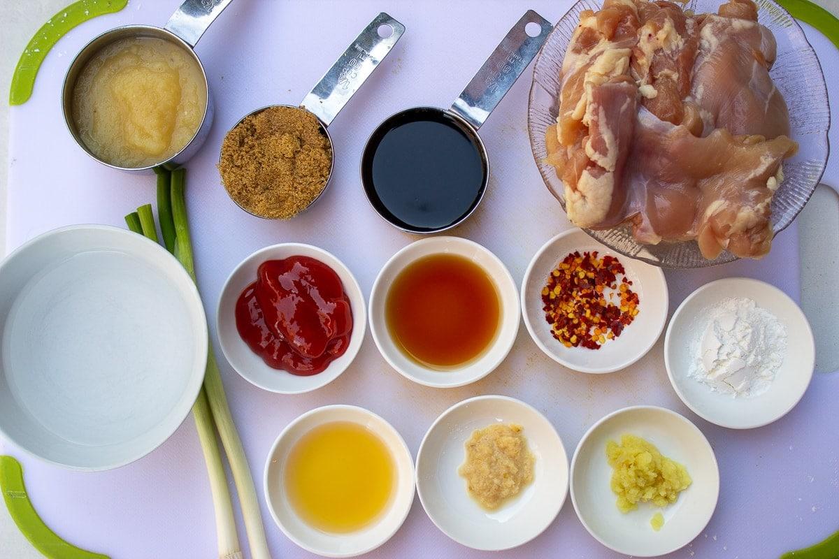 chicken, ginger, garlic, brown sugar, soy, apple sauce, chili flakes, ketchup, cornstarch, green onion