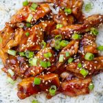 bourbon chicken over rice on plate p3