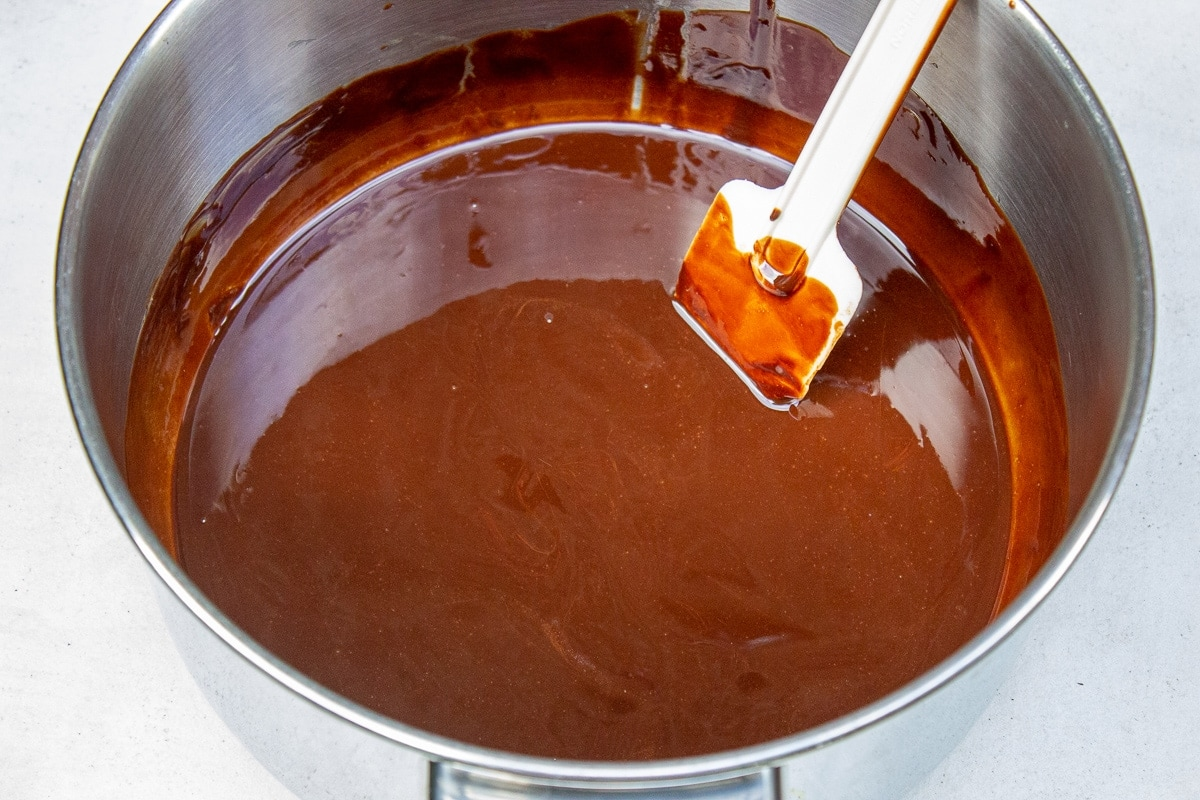 melted butter and chocolate in pot