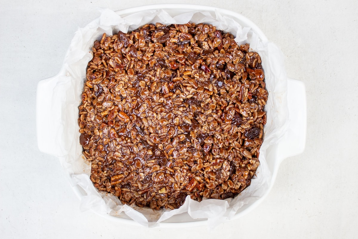 chocolate rice crispies in dish ready to chill