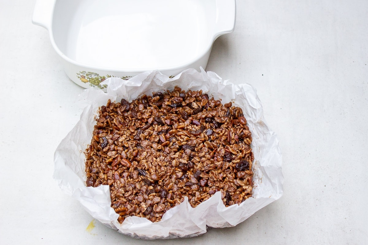 chocolate rice crispies lifted out of dish