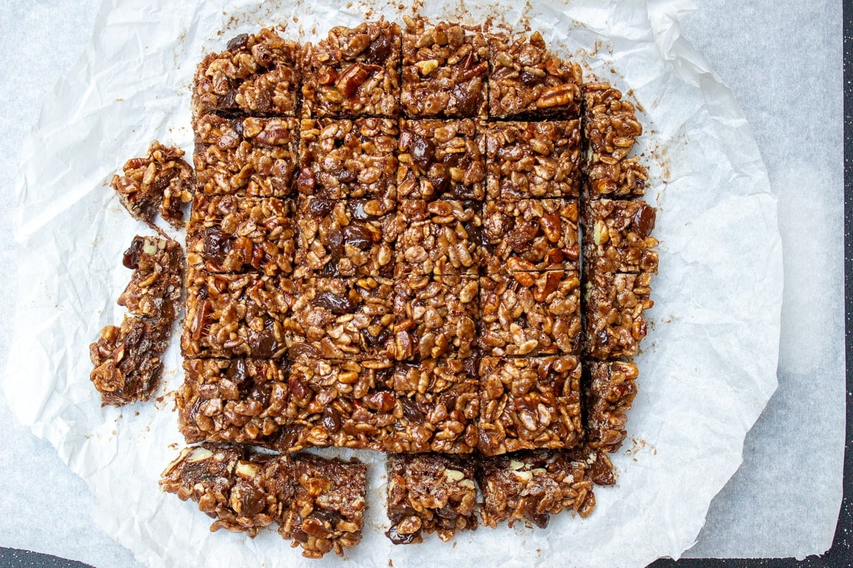 chocolate rice crispies cut in squares