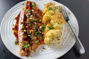 Maple Balsamic Rainbow Trout on plate with roasted cauliflower F