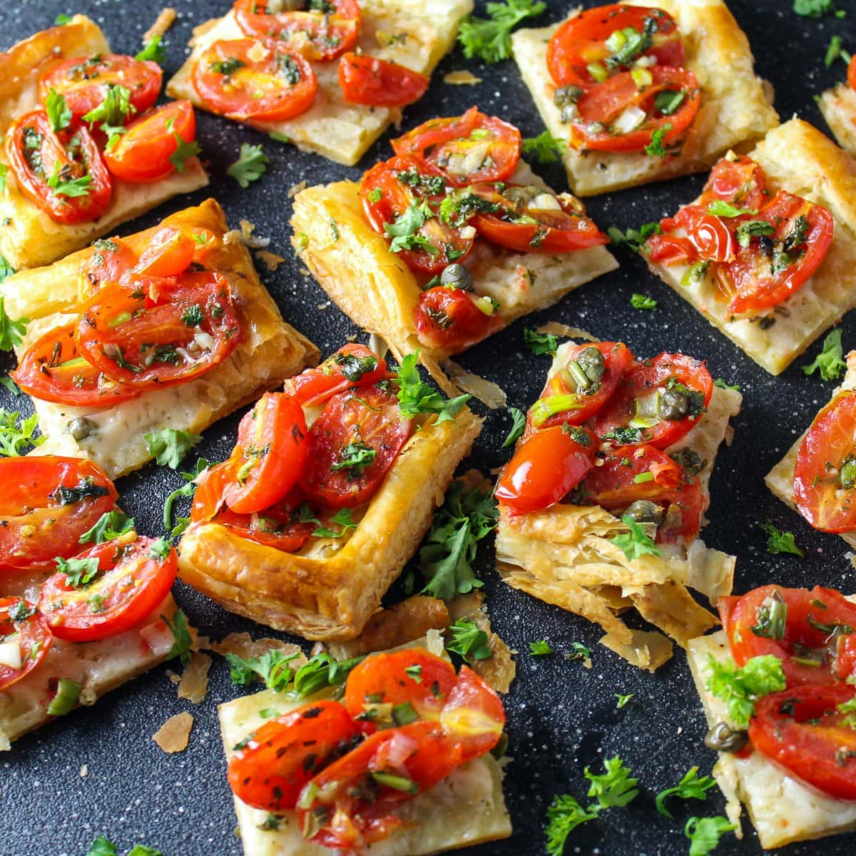 cut up Tomato Tart Puff Pastry appetizers