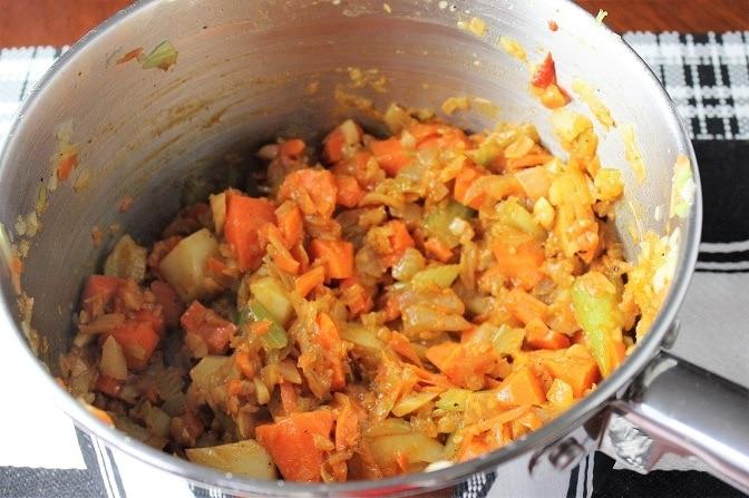 sauted veggies in pot