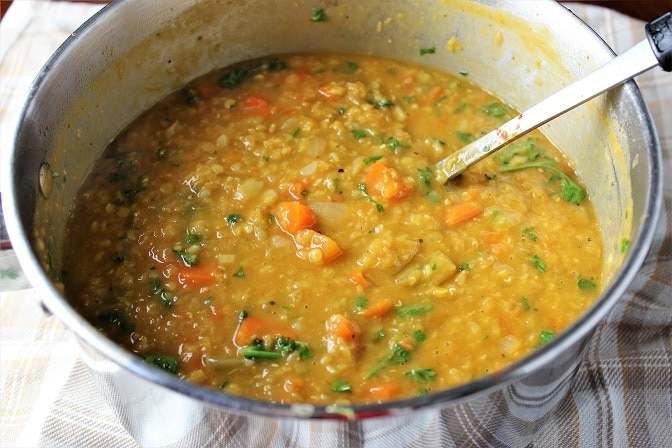 Red Lentil Vegetable Soup finished in pot