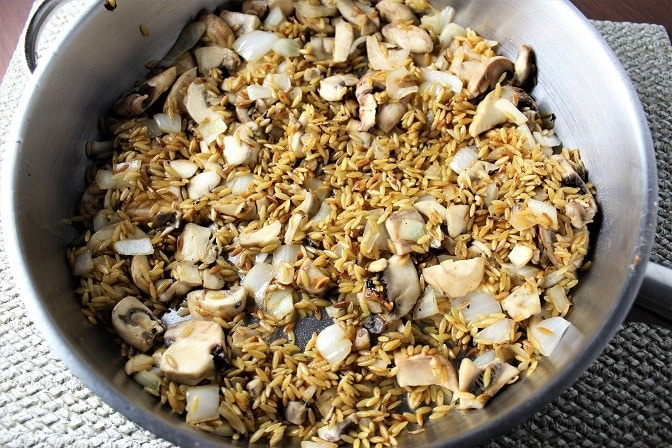 Mushroom spinach Orzo