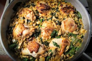 Chicken Orzo in skillet