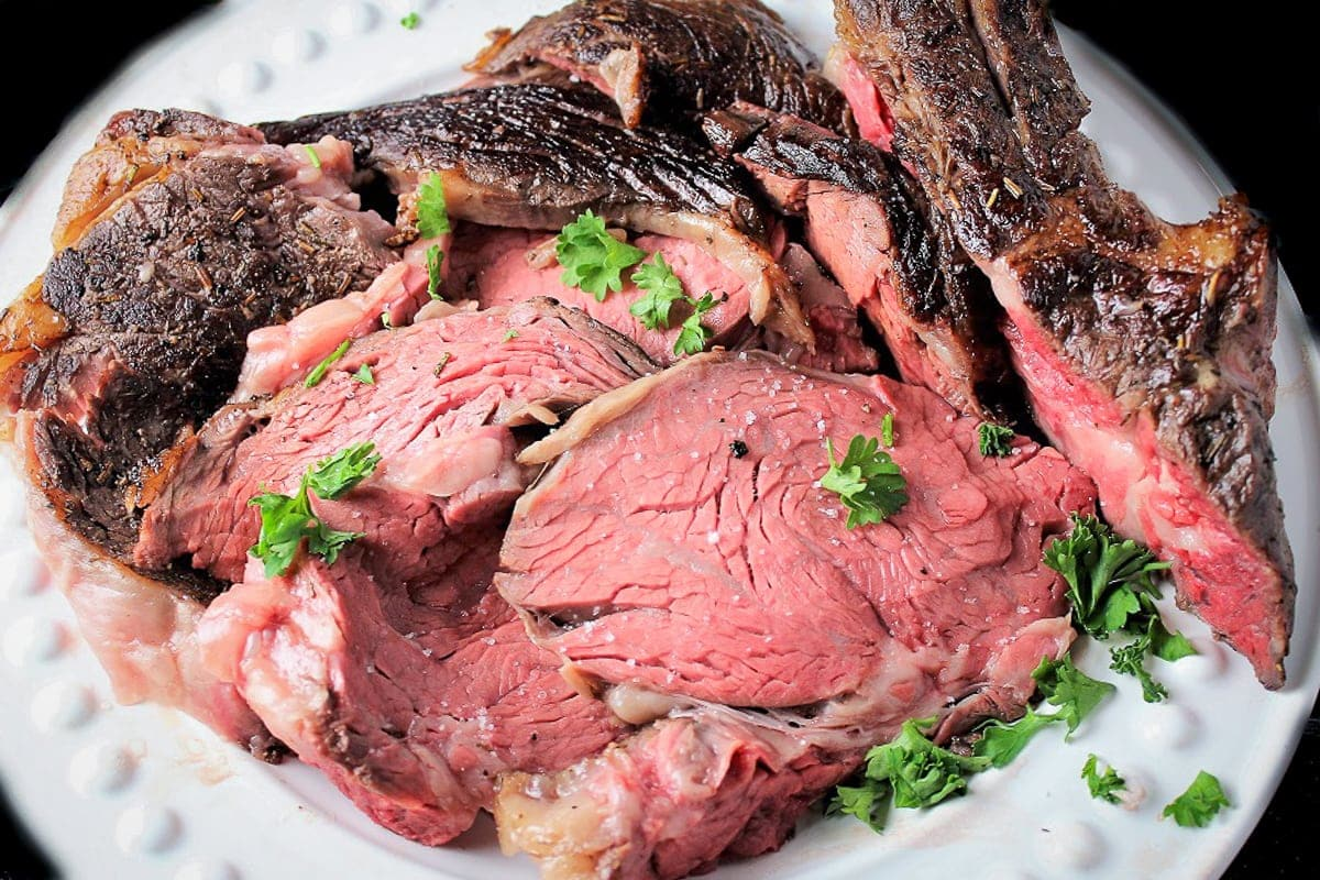 sous vide prime rib sliced on a plate ff