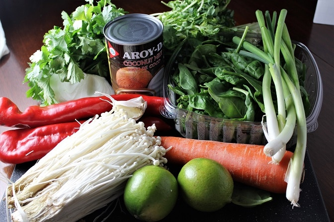 Thai Curry Shrimp and Vegetables ingredients
