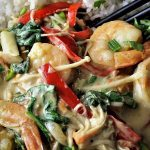 Thai Curried Shrimp and Vegetables on rice in a bowl p1