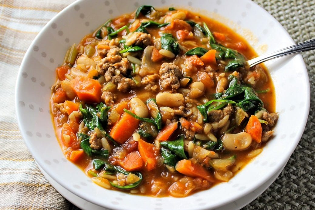 sausage and bean soup in bowl