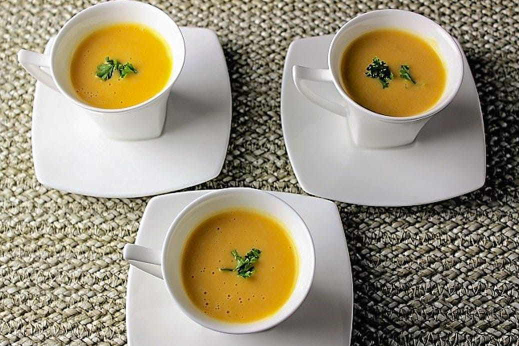 Thai Butternut Squash Soup in mini espresso cups