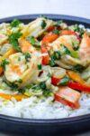 thai shrimp curry on rice on plate p1