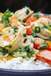 thai shrimp curry on rice on plate p2