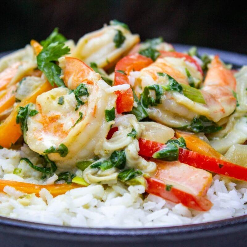 thai shrimp curry on rice on plate 1