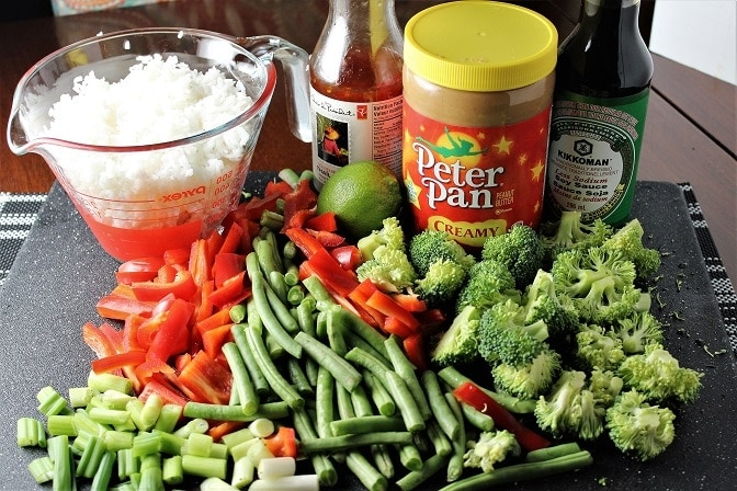 Vegetable Rice with spicy peanut sauce ingredients
