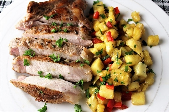 Sous vide pork chops with pineapple salsa