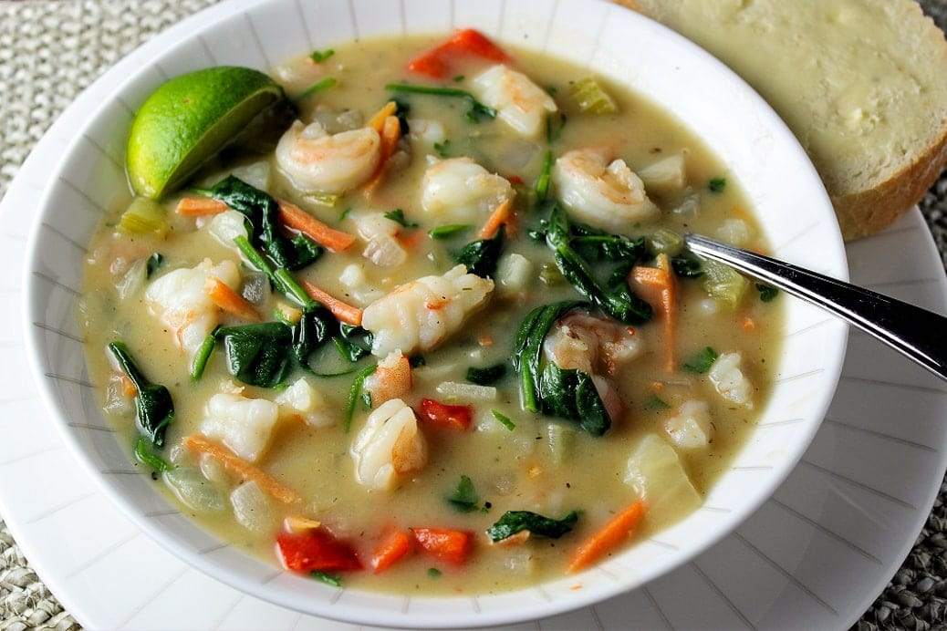 Shrimp Chowder Thai Style in a bowl