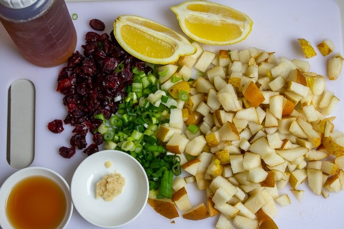 chopped pears, maple syrup, green onions, garlic, lemon, cranberries, cinnamon
