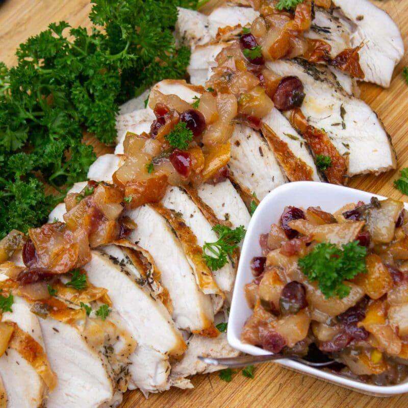 Roast turkey breast with pear chutney