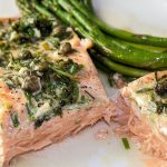 Sous Vide Salmon with Lemon Caper Sauce on plate with asparagus 3