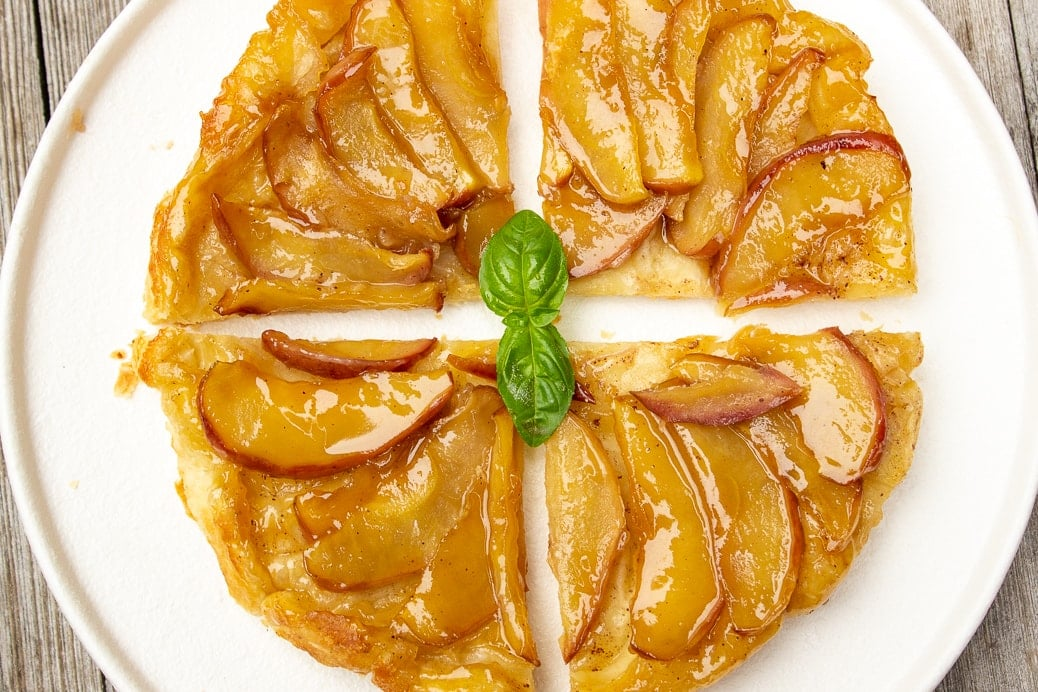 puff pastry apple tart side view