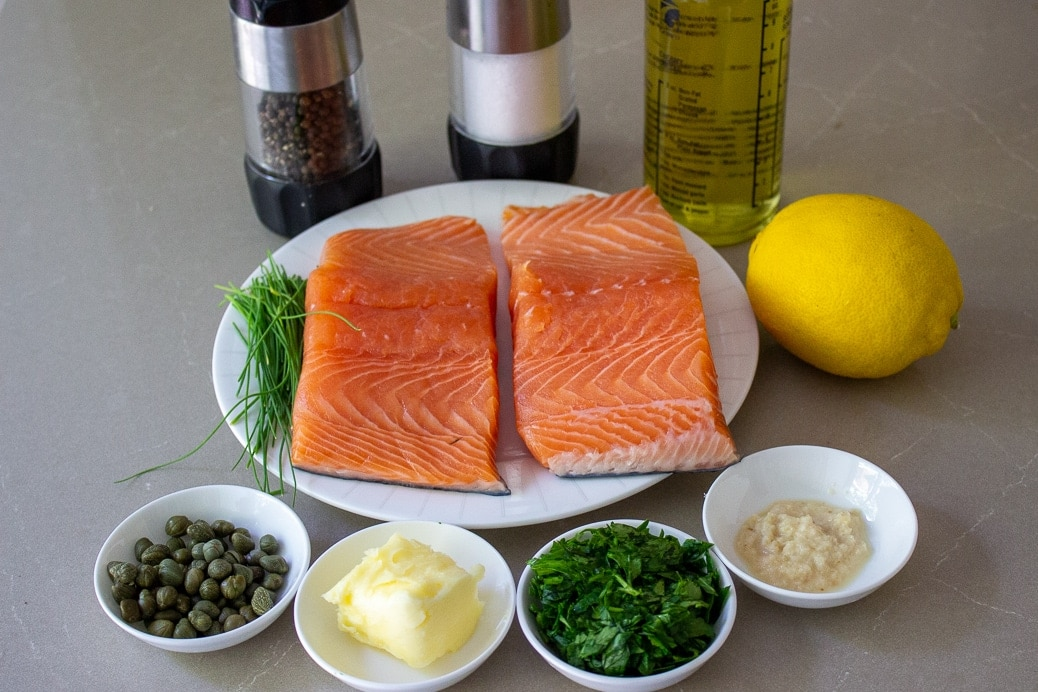 salmon, chives capers, butter, parsley, garlic, lemon, oil, salt, pepper