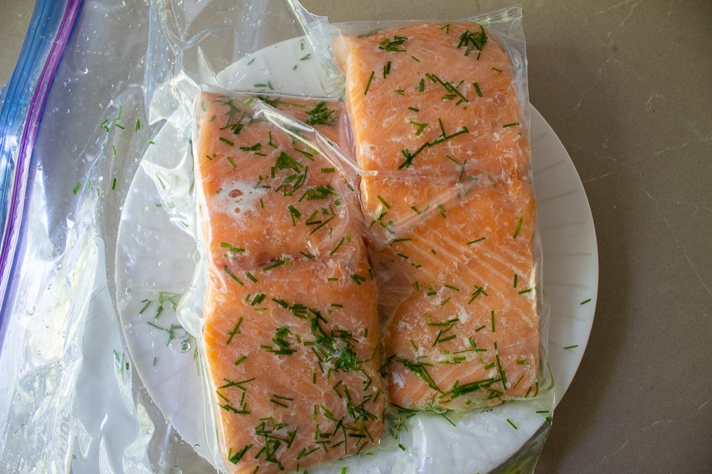 2 salmon fillets in bag after sous vide cooking