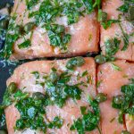 Sous vide salmon with caper sauce in pan p2
