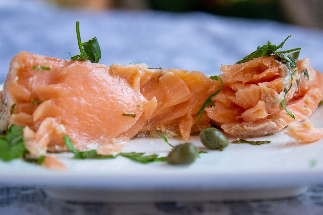 piece of salmon on plate showing inside