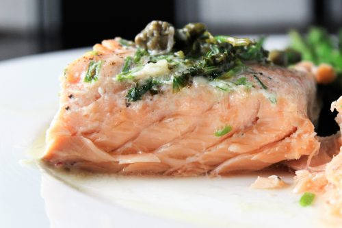 piece of Sous Vide Salmon with Caper Sauce on plate F