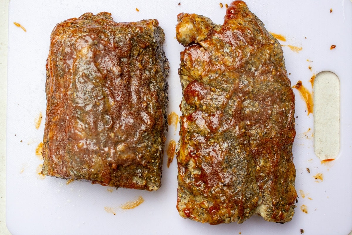 cooked ribs with BBQ sauce