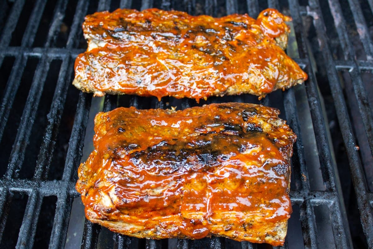 pork ribs with sauce on grill