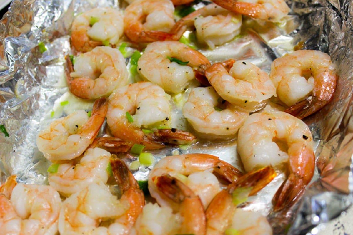 roasted shrimp in pan