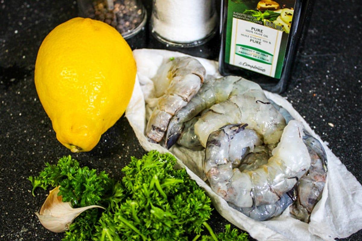 raw shrimp, lemon, parsley, garlic oil, salt, pepper,