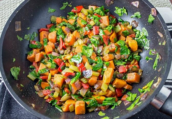 vegetables in pan