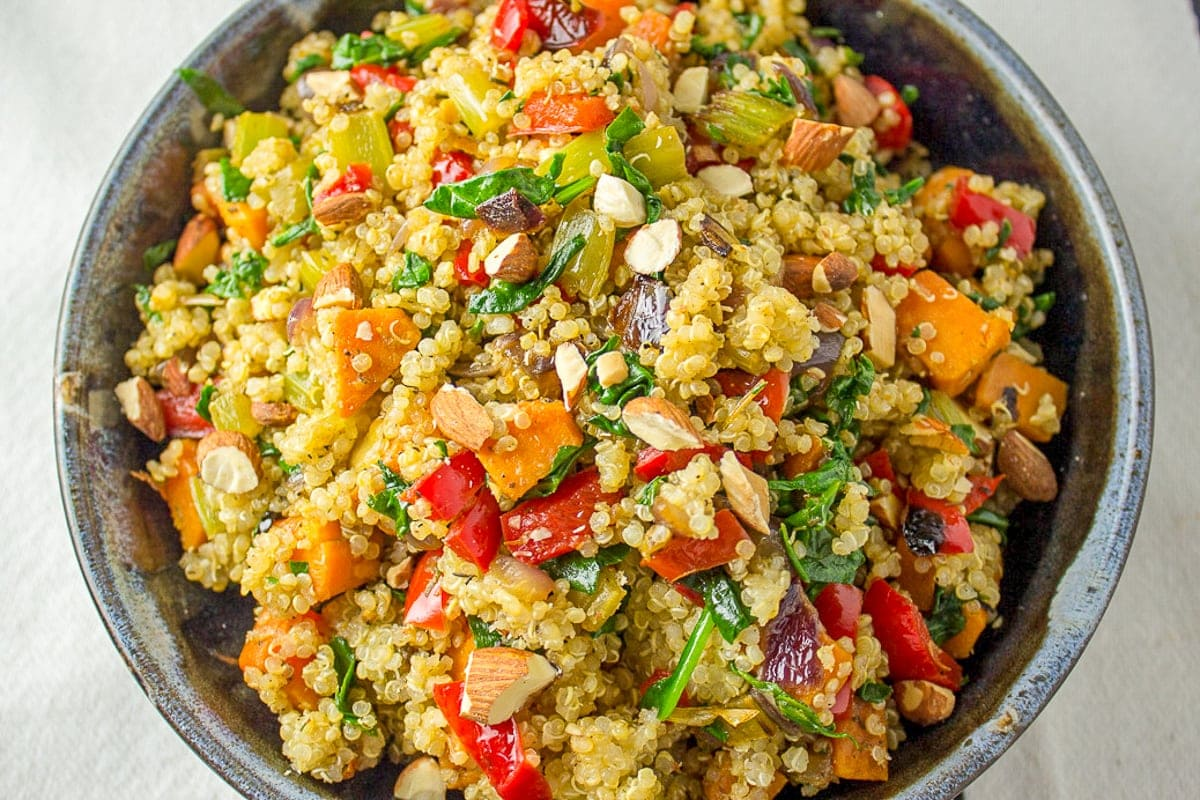vegetable quinoa stuffing in bowl f