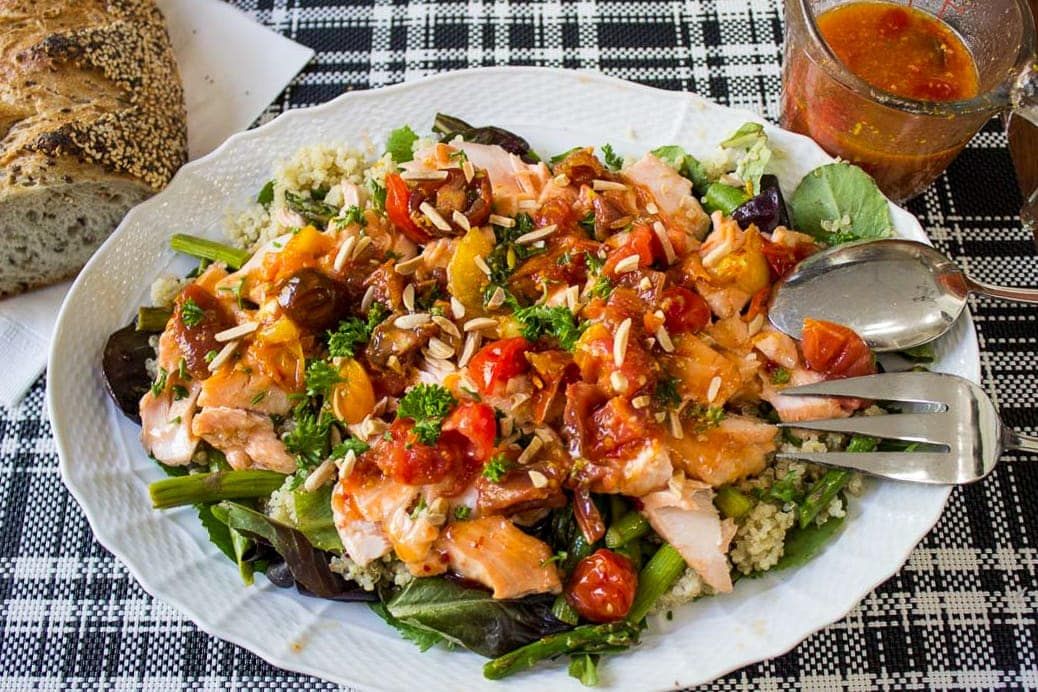 Warm Salmon Salad with Tomato Citrus Sauce served with crusty bread