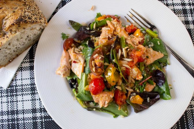 Warm Salmon Salad with Spicy Tomato Citrus Sauce