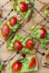 appetizers with avocado on crostini drizzled with balsamic reduction p1