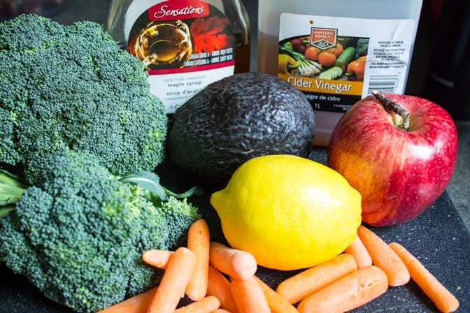 Broccoli apple slaw with avocado dressing ingredients