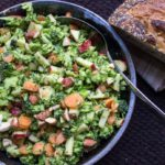 Broccoli apple slaw with avocado dressing. Crunchy textures, creamy dressing, fresh flavours