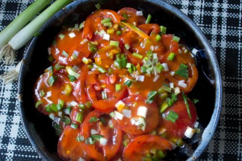 Tomato Salad with Homemade Catalina Dressing - sweet, tangy and pretty