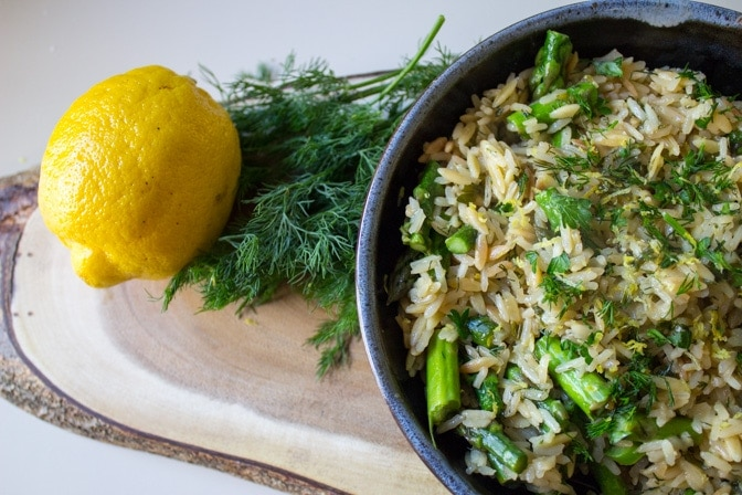 rice-a-roni in bowl with lemon and dill for presentation