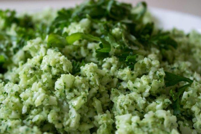 Cauliflower 'rice' with Pesto