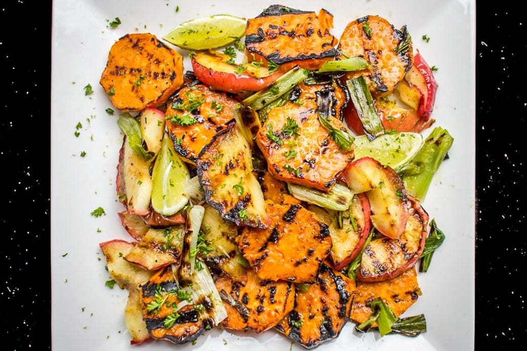 Grilled Honey-Lime Sweet Potato Apple Salad
