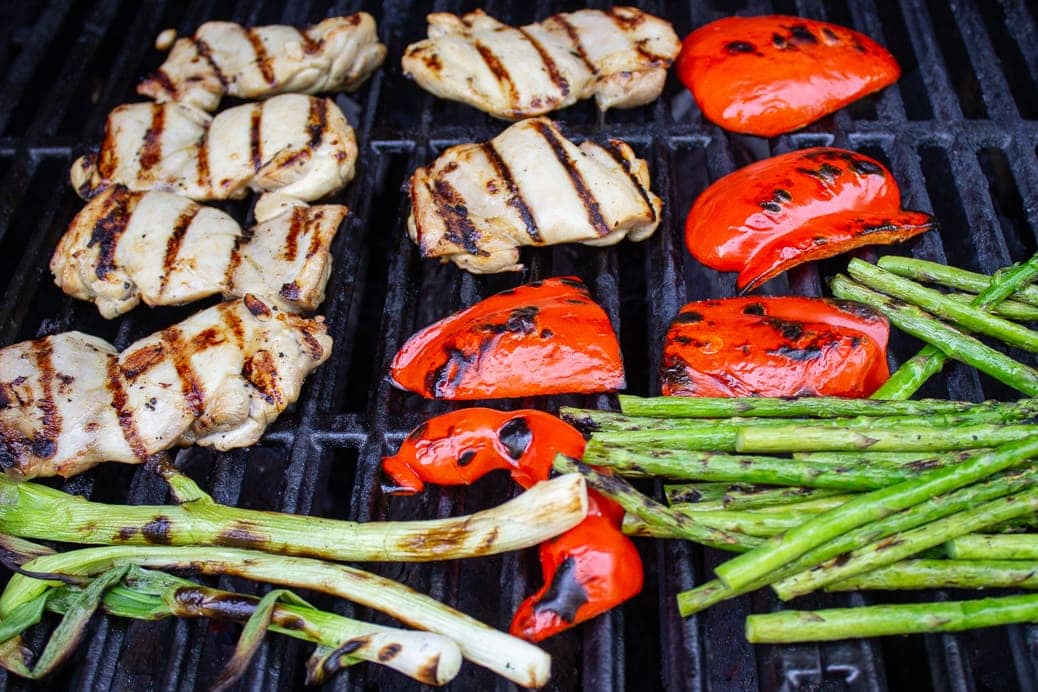 chicken and vegges on grill