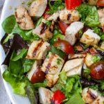 sesame lime chicken quinoa salad in bowl p4